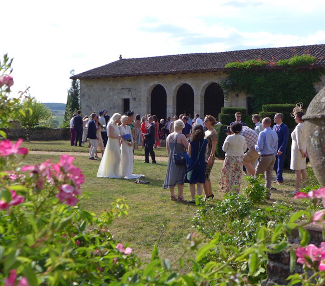 people at weeding reception, garden